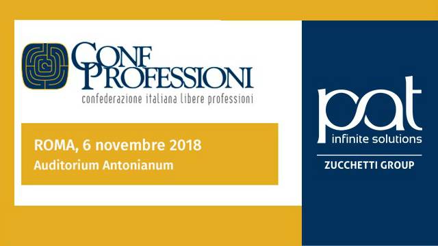 Patrizio Bof speaks at the 2018 ConfProfessioni Congress in Rome